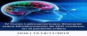 Cartel alegórico al IV Curso Latinoamericano Itinerante sobre Monitorización de EEG continuo en el paciente crítico