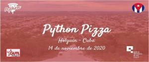 Cartel alegórico a  Python Pizza, un evento para hablar de programación en Cuba