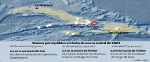 Sismos perceptibles en Cuba de enero a abril del 2021