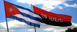 Las banderas cubanas y del 26 de Julio