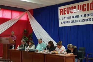 Miguel Díaz-Canel con profesores y estudiantes de la Universidad José Martí