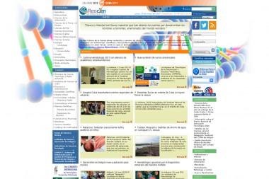 Página inicial de la primera versión del Portal de la Red Cubana de la Ciencia