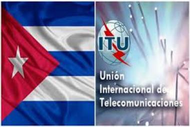 Cartel alegórico a la bandera cubana y a la  Unión Internacional de Telecomunicaciones (UIT)