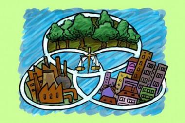 Cartel alegórico al desarrollo sostenible