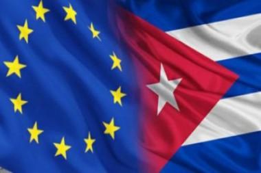 Banderas de la Unión Europea y Cuba
