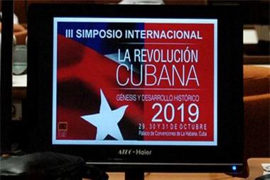Cartel alegórico al III Simposio Revolución cubana, génesis y desarrollo histórico
