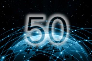 Cartel alegórico al 50 aniversario de Internet
