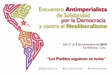 Cartel alegórico al Encuentro Antimperialista de Solidaridad, por la Democracia y contra el Neoliberalismo