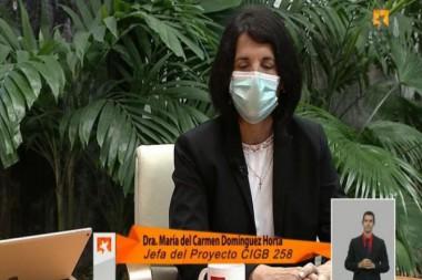 Dra. María del Carmen Domínguez, jefa del proyecto 258 del Centro de Ingeniería Genética y Biotecnología