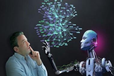 Humanos y robots trabajarán juntos en un futuro próximo. Esta combinación acelerará el desarrollo de la tecnología. El empresario y el cyborg organiza las redes sociales