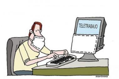 Caricatura alegórica al teletrabajo