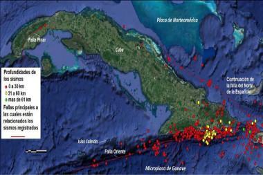 Hipocentros de terremotos, enero-febrero 2021