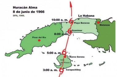 Trayectoria descrita por el huracán Alma al cruzar sobre la entonces Isla de Pinos y La Habana el 8 de junio de 1966. MAPA CORTESÍA DEL PROFESOR LUIS ENRIQUE RAMOS GUADALUPE