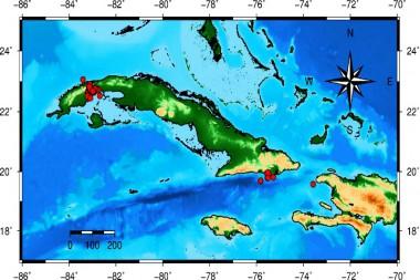 Mapa de réplicas del sismo en el occidente de Cuba