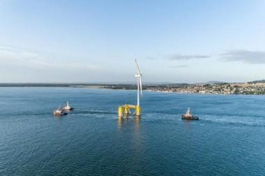 Parque eólico que suministrará energía limpia a unos 55 000 hogares de Escocia. Foto: Cobra.