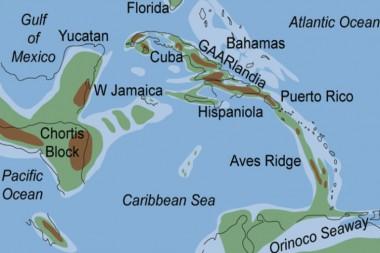 Reconstrucción paleogeográfica del puente terrestre GAARlandia muestra cómo podría haber aparecido entre 35 y 33 Ma [Iturralde-Vinent y MacPhee, 1999]